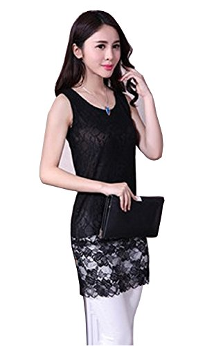 Lace Trimmed Bra Strap (LC10 Mystiqueshapes Lace Trimmed Top Extender Spaghetti Strap Cami Tank Top (XXL,)
