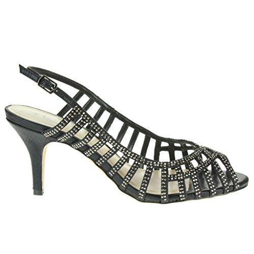 Mujer Señoras Diamant Trim Peep Toe Slingback Boda Nupcial Noche Fiesta Paseo Tacón alto Sandalias Zapatos Tamaño Negro.