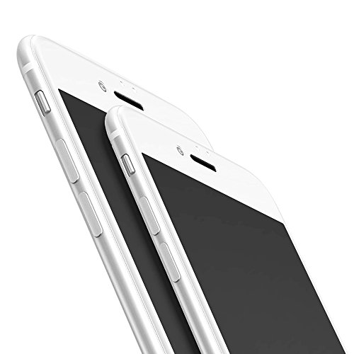"""outlet iPhone 7 Plus Tempered Glass Screen Protector, TJS [3D] [Full Coverage] [Edge to Edge] [9H Hardness] [Slim Fit] For Apple iPhone 7 Plus 5.5"""" inch (2016) - White"""