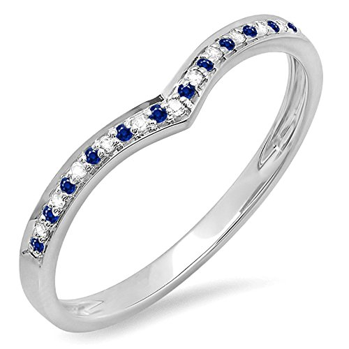 Dazzlingrock Collection 14K White Gold Round Blue Sapphire & White Diamond Ladies Wedding Stackable Band Ring (Size 7)