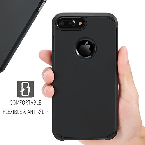 Toobe iPhone 7 Plus Case Ultra Armor Shock Absorbing Heavy Duty Dual Layer Case Protection With Free Scree Protector For iPhone 7 Plus/ iPhone 6S Plus, Smart Black