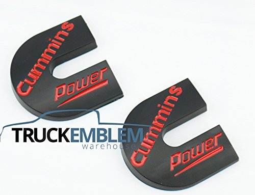 2 NEW (PAIR) MATTE BLACK WITH RED LETTERING CUSTOM DODGE RAM CUMMINS POWER TURBO DIESEL EMBLEMS BADGES SET NAMEPLATES DECALS (Custom Truck Emblems)