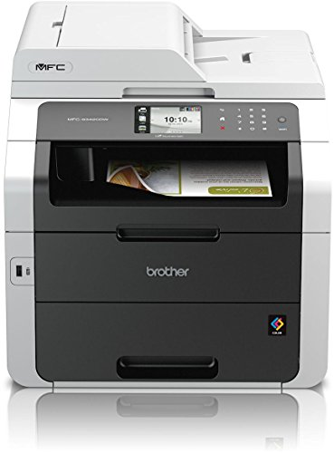 Brother MFC-9342CDW Kompaktes 4-in-1 Farblaser-Multifunktionsgerät (Scanner, Kopierer, Drucker, Fax, Duplex, 2400x600 dpi, USB 2.0, WLAN) weiß/dunkelgrau