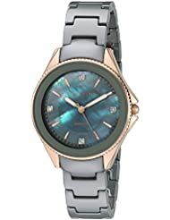 Anne Klein Womens AK/2390RGGY Diamond-Accented Rose Gold-Tone and Grey Ceramic Bracelet Watch