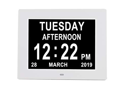 - [Newest Version] Digital Day Calendar Alarm Clock- 8 Alarms,Non-Abbreviated Day & Month Memory Loss,Dementia,Alzheimer's Vision Impaired Clock for Elderly/Seniors (8'' White)