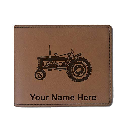 - Faux Leather Wallet, Old Farm Tractor, Personalized Engraving Included (Dark Brown)