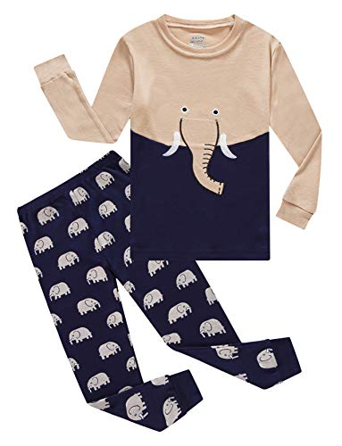 Elephant Little Boys Long Sleeve Green Pajamas 100% Cotton Pjs Size 5