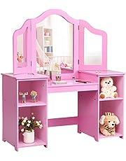 COSTWAY Kinder Kaptafel, Kaptafel voor Kinderen, Prinses Make-up Tafel Kaptafel met 4 Grote Opbergplanken en 3-Paneel Spiegel voor Kinderen en Meisjes (Roze)