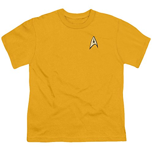 Star Trek Youth Size COMMAND UNIFORM Kids Gold T-shirt, Small(6-8)