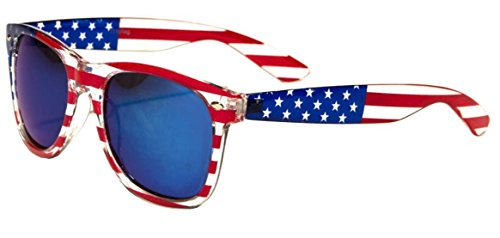 Classic American Patriot Flag Wayfarer Style Sunglasses USA (Blue mirror - Sunglasses Flag