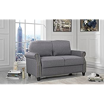 Sofamania Classic Living Room Linen Loveseat With Nailhead Trim And Storage  Space (Light Grey)
