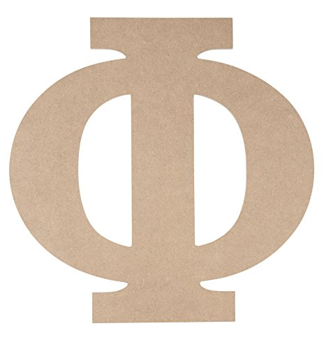 Phi Letters - Wooden Greek Letter - Unfinished Wood Letter Phi, Paintable Greek Font for DIY, Home, College, Sorority, Fraternity Decoration, 11.56 x 11.625 x 0.25 inches