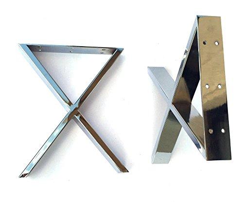 Alpha Furnishings Heavy Duty Chrome Table Leg, X Metal Legs for Coffee Table, Bench, DIY Affordable! 2PC by Alpha Furnishings