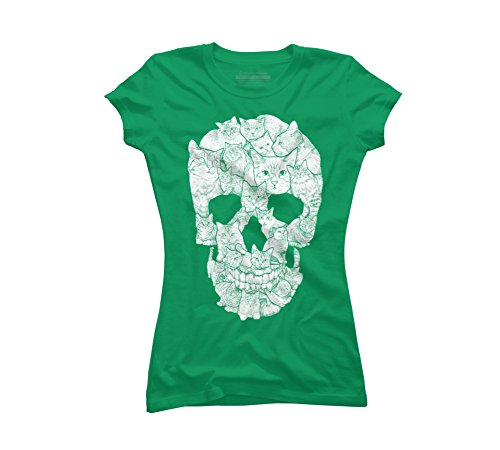 Sketchy Cat Skull Juniors' X-Large Kelly Green Graphic T -