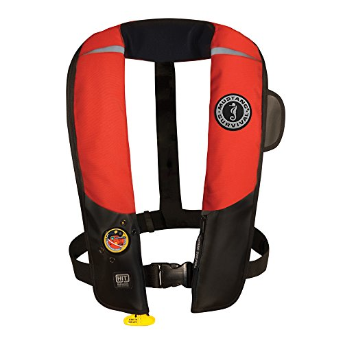 Mustang Survival Corp Inflatable PFD with HIT (Auto Hydrostatic) and Bright Fluorescent Inflation Cell, Red/Black