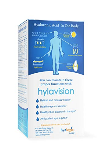 HylaVision Eye Health Supplements: Hyaluronic Acid, Lutein and Zeaxanthin Dietary Supplements for Vision Support (120…