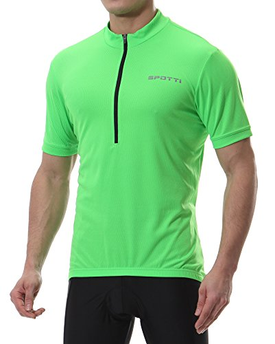 Winter Cycling Jersey - Spotti Men's Basic Short Sleeve Cycling Jersey - Bike Biking Shirt (Green, Large)