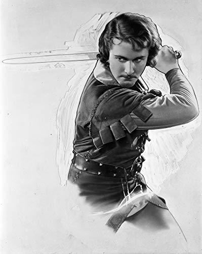 "Celebrity Vault Errol Flynn Swinging Sword, an Archival Print - 20"" x 16"""