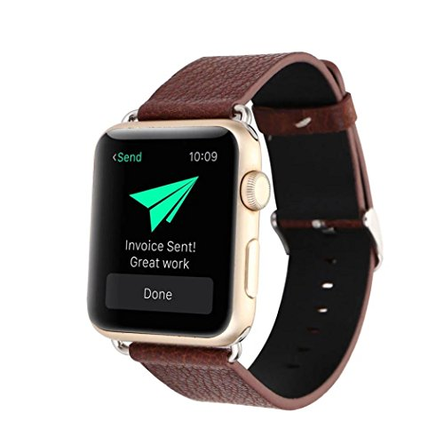 Allywit Leather Buckle Wrist Watch Band Strap Horses Belt for Watch Apple Watch 38mm (Dark Brown)