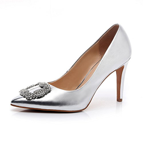 DUNION Women's Appoint Pointed Toe High Heel Stiletto Dress Pump Evening Party Wedding Shoes,Silver,9.5 B(M) - Women Shoes Evening