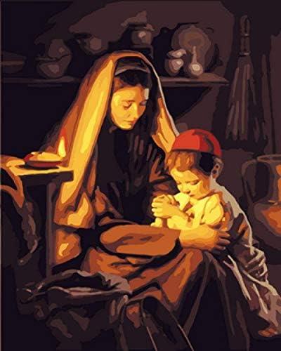 大人の子供のための番号キットでペイント、DIYデジタルキャンバスの油絵のギフト番号キットで家の装飾-16 x 20インチのペイント児童学校#00442