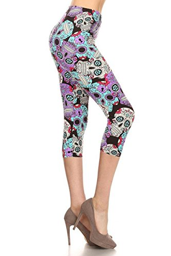 R864-CA-3X5X Purple Sugar Skull Capri Print Leggings, 3X5X