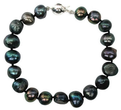 Bridesmaid Peacock/Black 9-10mm Baroque Cultured Pearl Bracelet with A Sterling Silver Clasp by Pearls Paradise (Image #1)