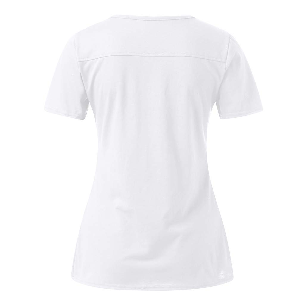 KYLEON Women Shirts Solid V-Neck Short Sleeve Button up Ladies Basic Casual Blouse Summer Tank Tunics Vest Camis Tops White by KYLEON (Image #3)