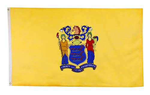 Shop72 US New Jersey State Flags - New Jersey Flag - 3x5' Flag from Sturdy 100D Polyester - Canvas Header Brass Grommets Double Stitched from Wind Sid