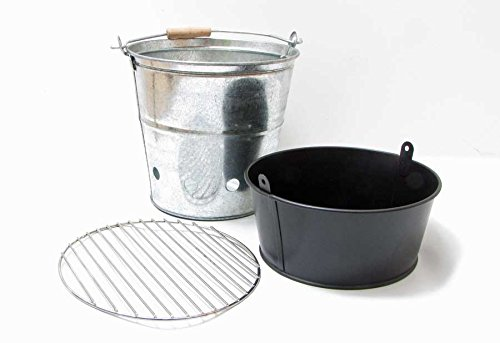 Grill-Eimer verzinkt mit Henkel H 30 cm Picknick-Grill zum Mitnehmen Grilleimer