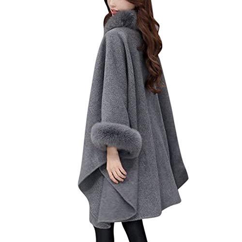Edtara Capa para Las Mujeres, Capa Larga de Lana de Invierno Prendas de Punto mantón Cabo Suelto cálido
