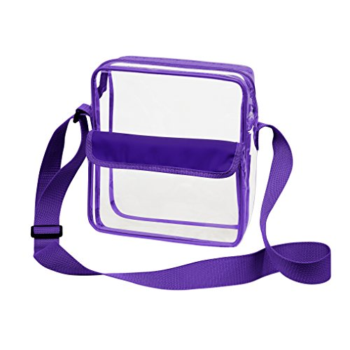 Roomy Clear Cross-Body Messenger Bag w Adjustable Strap, Quality NFL Stadium Approved Transparent Purse 10