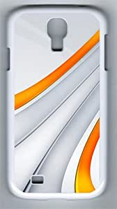 3D Orange And Silver Stripe PC Hard Case Cover For Samsung Galaxy S4 SIV I9500 Case and Cover White