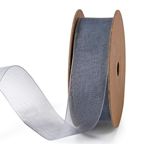 Organza Nylon Ribbon - LaRibbons 1 Inch Sheer Organza Ribbon - 25 Yards for Gift Wrappping, Bouquet Wrapping, Decoration, Craft - Grey