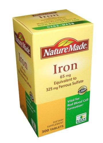 Nature Made Fer 65mg, équivalent à 325 mg de sulfate de ferreux - 300 comprimés