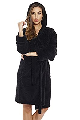 Just Love Kimono Robe / Chevron Texture Fleece Hooded Bath Robes for Women