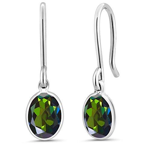 Gem Stone King 1.60 Ct Oval Tourmaline Green Mystic Topaz 925 Sterling Silver Earrings