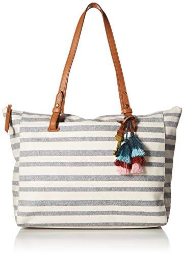 Tote Womens Fabric Handbag - Fossil Rachel Tote Blue Stripe