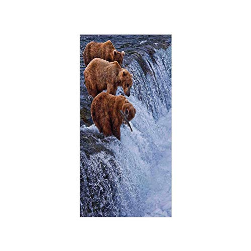 (Ylljy00 Decorative Privacy Window Film/Grizzly Bears Fishing in River Waterfalls Cascade Alaska Nature Camp View/No-Glue Self Static Cling for Home Bedroom Bathroom Kitchen Office Decor Brown White)