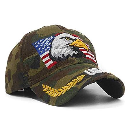 JINRMP Embroidery Eagle Camouflage Baseball Caps for Men Women Outdoor Fishing Desert Hats USA Flag Army Camo Baseball Hats