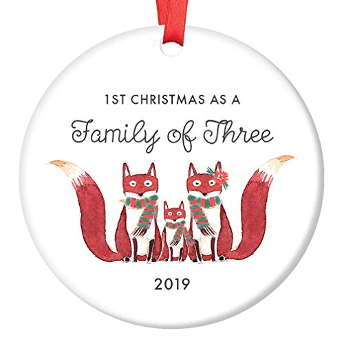 Family of Three Ornament 2019 First Christmas as a Family of 3, Fox Ornament Gift, Cute Foxes Mommy Daddy New Baby Shower Ceramic Present Keepsake 3 Flat Porcelain with Red Ribbon & Free Gift Box