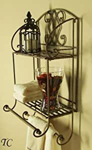 Tuscan wrought iron 2 tier wall shelf with towel bars home kitchen for Wrought iron bathroom towel bars