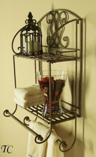 Superieur Tuscan Wrought Iron 2 Tier Wall Shelf With Towel Bars
