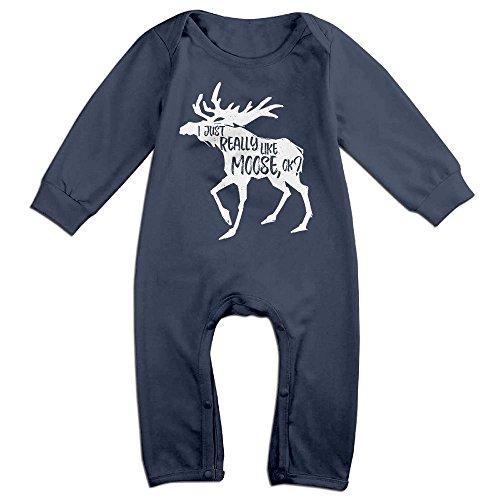 NOXIDN SMWI Baby Infant Romper I Just Really Like Moose,OK Long Sleeve Playsuit Outfits - Costume In Kim Kardashian