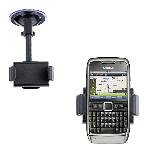 Compact Windshield Mount compatible with Nokia E71 E71x E75 for the Car / Auto - Flexible Suction Cup Cradle Holder for the Vehicle (E71x Phone)