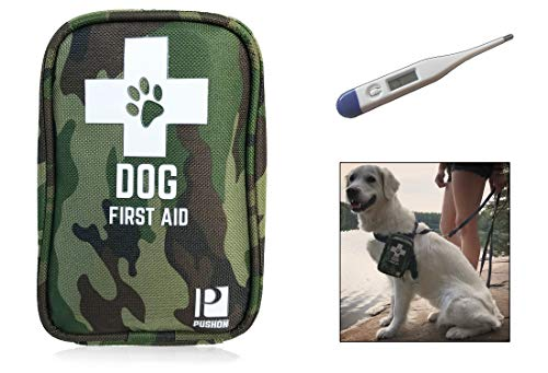 Dog First Aid Kit with Thermometer and Emergency Blanket – Puppy Kit – Pet Safety Supplies for Camping, Walks, Cycling, Car, Hikes – Treat cuts and scrapes – Top Rated