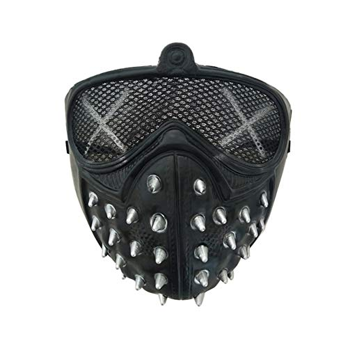 Cosplay of Watch Dogs 2 Mask Marcus Wrench Plastic Rivet Face Masks Halloween Party DJ Prop - Black]()