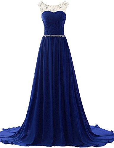 Chiffon Perline Abiti da da damigella Reale JAEDEN sera Abiti Donne lungo con da ballo Vestito Blu Rq7na
