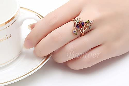 Dixey Luxury Anillos de Oro Laminado Finger Ring for Women Party with AAA Colorful Cubic Zircon RI0016