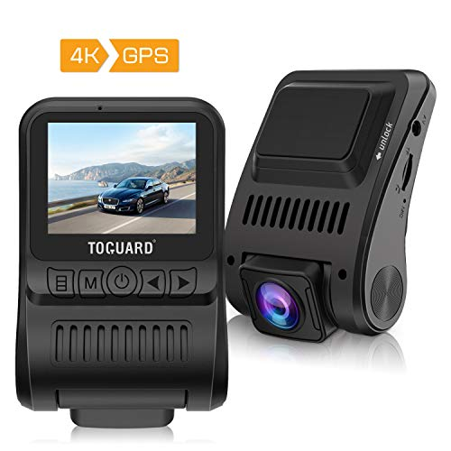 TOGUARD Dash Cam 4K GPS UHD Dashboard Camera for Cars 2 inch 170° Wide Angle Dash Camera with Loop Recording Parking Monitor Travelapse ()